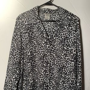 Vintage Alison Daley Black and White Cheetah Top
